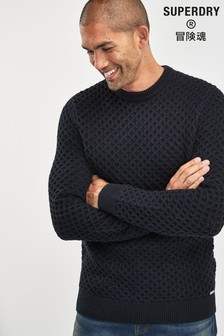 Superdry Navy Cable Crew Jumper