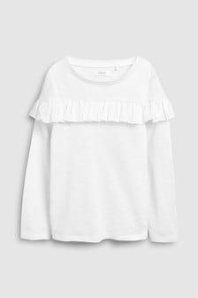 Tricou cu mânecă lungă și volane (3-16ani)