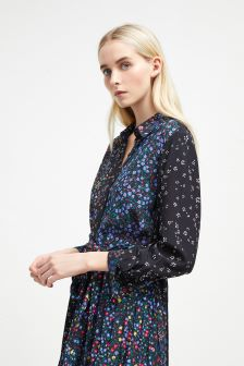 French Connection Black Multi Print Midi Shirt Dress