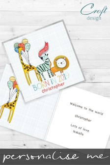 Personalised Born In 2019 Baby Boy Card by Croft Designs