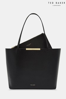 657ebe37e32d4e Ted Baker Jackki Black Leather Shopper Bag