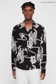 AllSaints Black Kumu Hawaiian Shirt