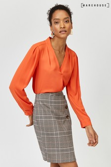 Warehouse Orange V-Neck Pleat Top