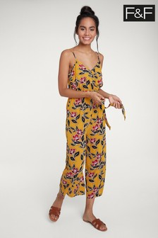 F&F Yellow Floral Print Jumpsuit