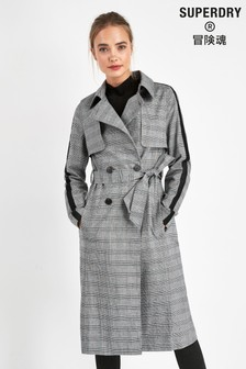 Superdry Grey Check Trench Coat