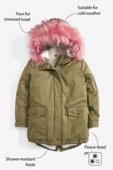 Shower Resistant Pink Faux Fur Hood Parka (3-16yrs)