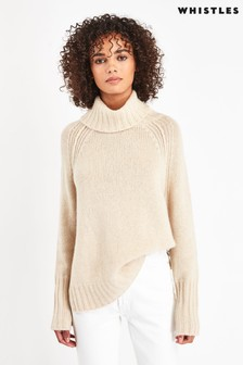 Whistles Ivory Chunky Knit Regenerated Cashmere Jumper