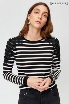 סוודר תחרה מעוטר עם פסים של Warehouse, בצבע שחור