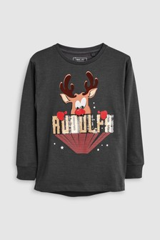 Sequin Rudolph Long Sleeve Top (3-16yrs)
