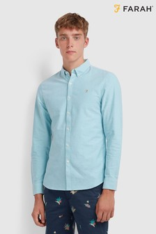 Farah Turquoise Green Brewer Slim Fit Shirt