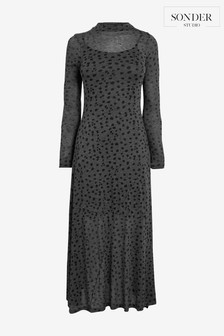 Sonder Grey Spot Brushed Mesh Dress