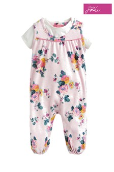 Joules Pink Olive Dungaree Set