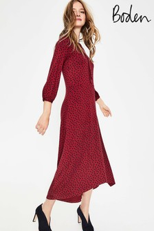 Boden Red Rosa Jersey Dress