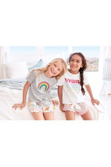 Hey Girl/Rainbow Short Pyjamas Two Pack (3-16yrs)