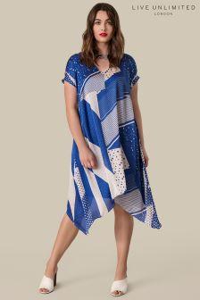 Live Unlimited Blue Print Cold Shoulder Swing Dress