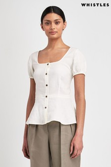 Whistles Alana Waisted Linen Top