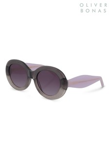 Oliver Bonas Grey Hollywood Round Sunglasses