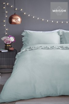 Maison Exclusive To Next Stonewash Ruffle Duvet Cover And Pillowcase Set