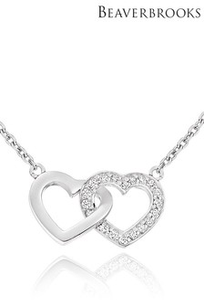 Beaverbrooks Silver Cubic Zirconia Double Heart Necklace