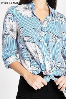 River Island Blue Floral Print Tie Shirt