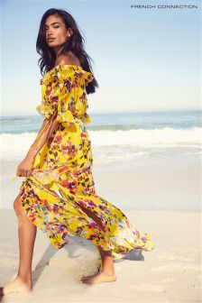 French Connection Yellow Off Shoulder Maxi Dress