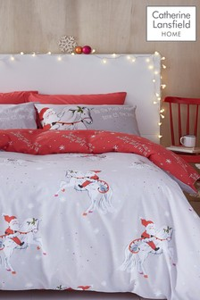 Catherine Lansfield Christmas Santa Unicorn Duvet Cover and Pillowcase Set