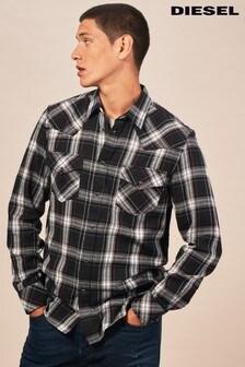 Diesel® Black East Long Check Shirt