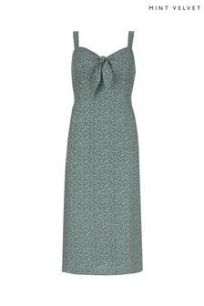 Mint Velvet Grey Print Tie Midi Dress