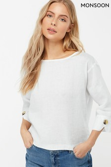 Monsoon Ladies White Adore Linen T-Shirt