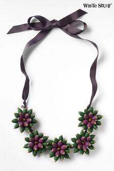 White Stuff Purple Beaded Flower Necklace