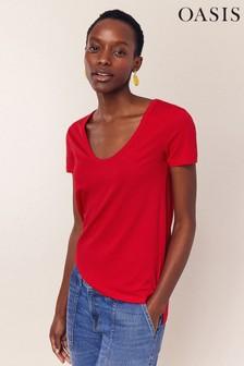 Oasis Red Soft V-Neck T-Shirt