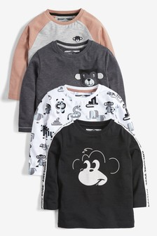 4 Pack Long Sleeve Monkey T-Shirts (3mths-7yrs)