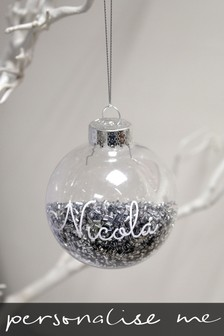 Personalised Shaker Filled Silver Bauble