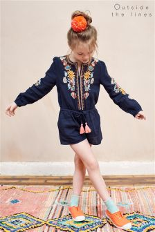 Outside The Lines Blue Embroidered Playsuit