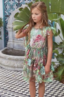 Ruffle Mesh Dress (3-16yrs)
