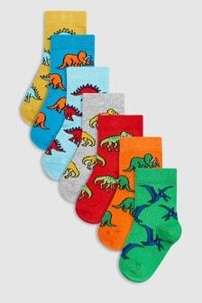Комплект из семи пар носков с динозаврами (Младшего возраста)