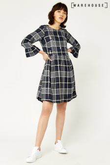Warehouse Navy Daisy Sprinkle Embroidered Check Dress
