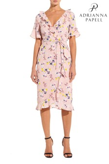 Adrianna Papell Pink Delicate Ruffle Faux Wrap Dress