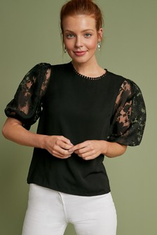 Organza Puff Sleeve Top
