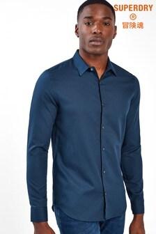 Superdry Navy Slim Long Sleeve Shirt