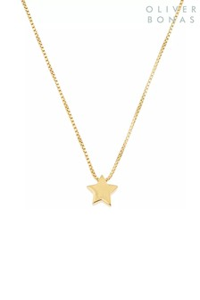 Oliver Bonas Star Gold Plated Brass Necklace