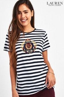 Lauren Ralph Lauren® Navy Stripe Crest Logo T-Shirt