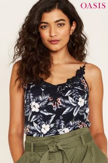 Oasis Black Lace Trim Havana Cami