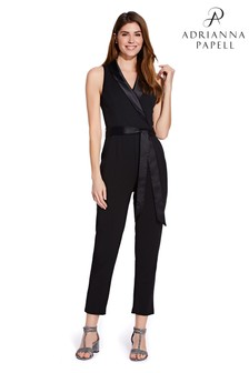 Adrianna Papell Black Knit Crepe Tuxedo Jumpsuit
