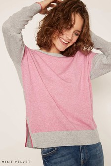 Mint Velvet Grey Blocked Front Stripe Back Jumper