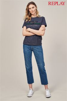 Replay® Alexys Cropped Straight High Rise Mid Wash Jean