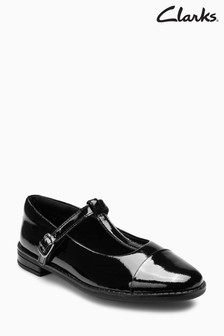 Clarks Black Patent Leather Drew Shine T-Bar Shoes