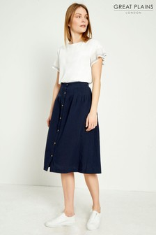 Great Plains Blue Safi Linen Button Midi Skirt