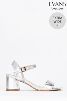 Evans Metallic Extra Fit Wide Flared Two Part Heel Sandals