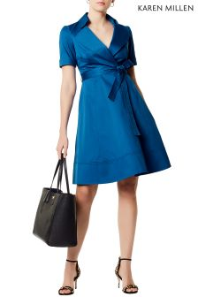 Karen Millen Blue Cotton Wrap Dress